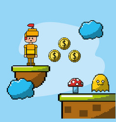 Videogame with soldier and coins with character vector