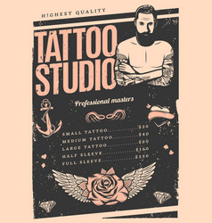 Vintage tattoo studio poster vector