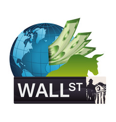Wall street world investment economy money vector