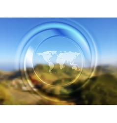 World map and blurred circle on landscape vector image vector image