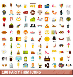 100 party firm icons set flat style vector