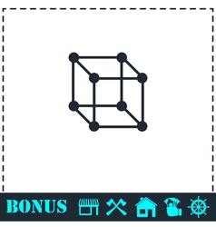 Cube icon flat vector