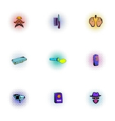 Inquest icons set pop-art style vector