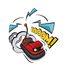 Crazy bumper a car isolated on vector