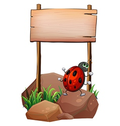 A bug below the empty wooden signboard vector