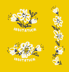 Freehand drawing flower in pale tender color vector