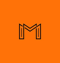 Two letter m monogram style mockup logo design vector