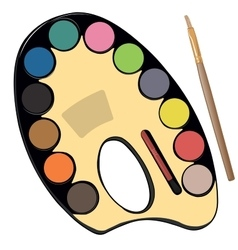 School paint kit for artist with paints pencils vector
