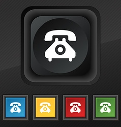 Retro telephone handset icon symbol set of five vector