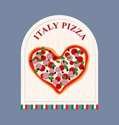 Pizza in italy pizza in shape of a heart sign for vector