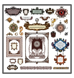 Antique map borders frames vector
