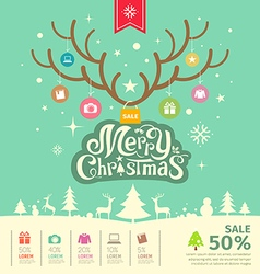 Merry christmas reindeer sale concept vector