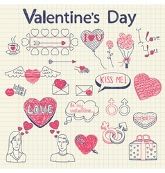 Valentine doodles set vector