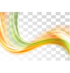 Green and orange smooth blurred transparent waves vector