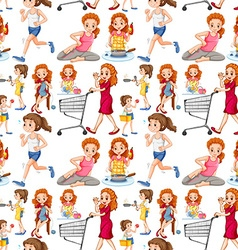 Seamless housewife doing activities vector