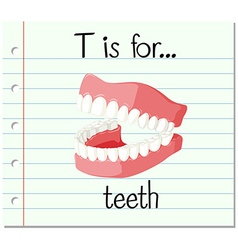Flashcard letter t is for teeth vector