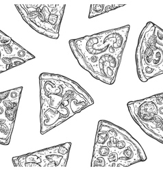 Seamless pattern slice pizza vintage vector