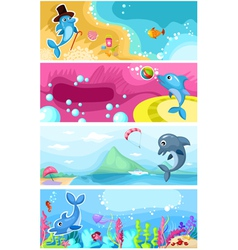Sea life background vector