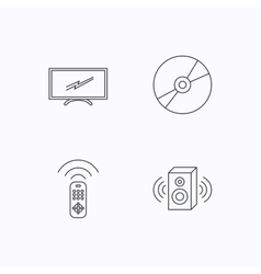 Tv remote sound and dvd disc icons vector