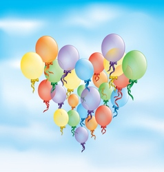 Birthday card colored balloons background vector
