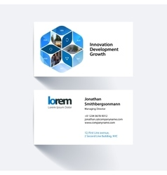 Business card template with rhombus vector