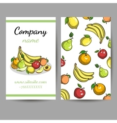 Business Cards With Fruits vector image
