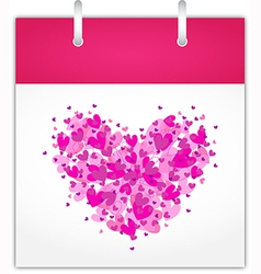 Calendar page for Valentines day vector image vector image