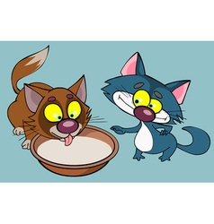 cartoon funny kittens drinking milk vector image