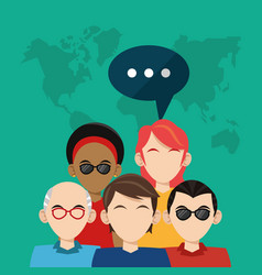 community people social media global vector image