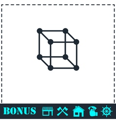 Cube icon flat vector