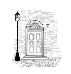doorway background house entrance building facade vector image vector image