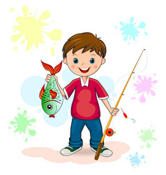 fisherman and fish vector image