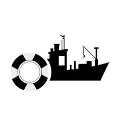 fishing boat and life preserver icon vector image vector image