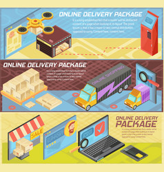 Goods online delivery isometric banners vector