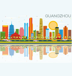 guangzhou skyline with color buildings blue sky vector image vector image