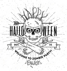 Halloween poster with zombie head and hend line vector image