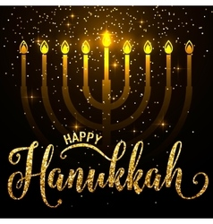 Happy hanukkah gold vector