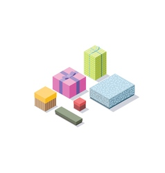 Isometric set of colorful gift boxes 3d flat vector