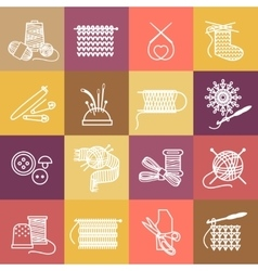 Knitting icons set vector
