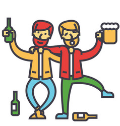 Male alcoholism drunk people drunken party men vector