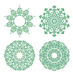 Ornamental ethnicity green pattern vector image