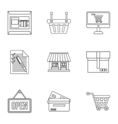 Purchase icons set outline style vector image
