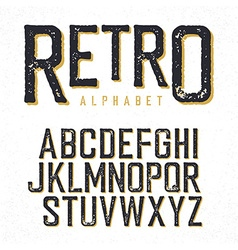 Retro typeface Stamped alphabet shadowed Isolated vector image