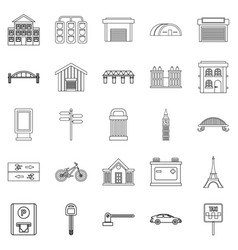 road signs icons set outline style vector image vector image