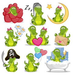 set of cute cartoon crocodile vector image