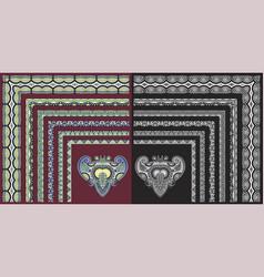 set of floral corner pattern to decorative frame vector image