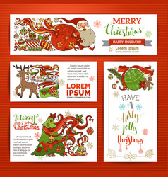 Set of merry christmas banners vector