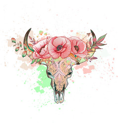 Skull of a cow with horns poppy vector