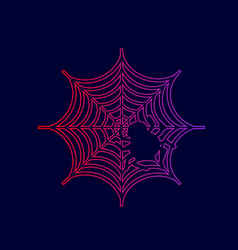 Spider on web line icon with vector