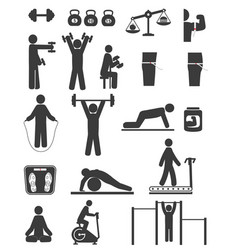sports and fitness icons of black color on white vector image